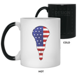 Lacrosse USA Flag Magic Color Changing Coffee Mugs, Gifts for Lacrosse Players Sports Lovers
