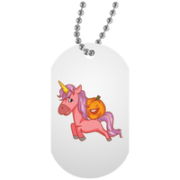 Halloween Unicorn Pumpkin Dog Tag, Gifts for Trick Treat Party