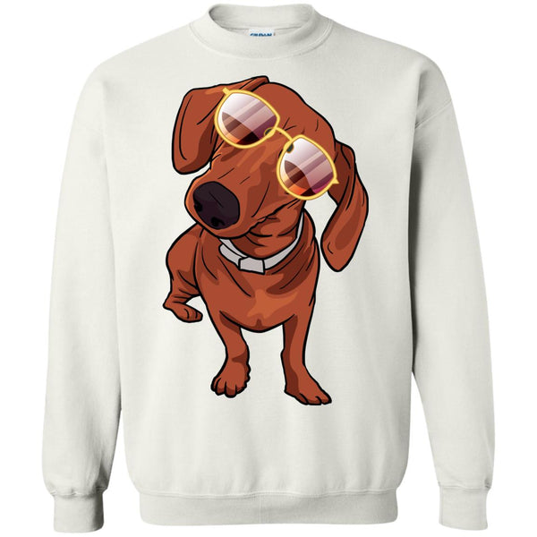 Dachshund wth Sunglasses Funny Sweatshirt, Gifts for Dog Puppy Lovers