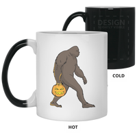 Halloween Bigfoot Sasquatch Pumpkin Magic Color Changing Coffee Mugs, Gifts for Costume Party