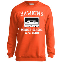 Hawkins Middle School Cassette Unisex Crewneck Sweatshirt for Men Women Boys Girls Kids Youth