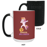 Dabbing Halloween Unicorn Magic Color Changing Coffee Mugs, Gifts for Pumpkin Candy Treat Scary Trick