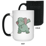 Elephant Magic Color Changing Coffee Mugs, Funny Dabbing Gifts for Animal Dance Lovers