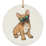 French Bulldog Sunglasses Funny Christmas Tree Ornaments, Gifts for Dog Puppy Lovers