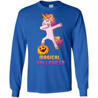 Dabbing Halloween Unicorn Long Sleeve Shirt, Gifts for Pumpkin Candy Treat Scary Trick