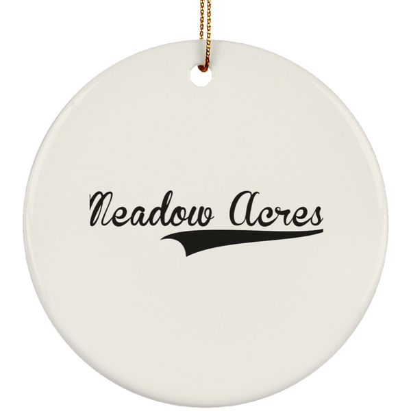 MEADOW ACRES Christmas Ornament Custom City Name Personalized Decorations