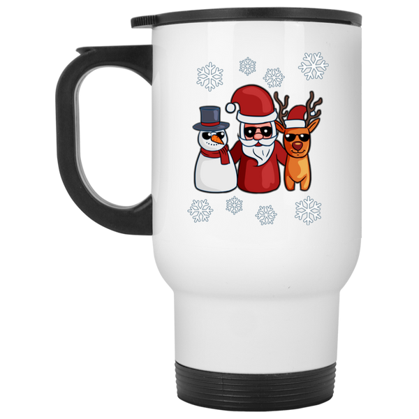 Snowman Santa Reindeer Travel Coffee Mug, Christmas Gifts for Snow Lovers