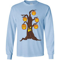Halloween Pumpkin Tree Long Sleeve Shirt, Gifts for Candy Treat Scary Trick
