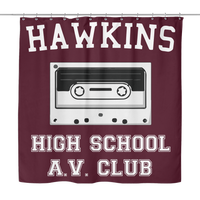 Hawkins High School Shower Curtain, Christmas Gifts for AV Club Lovers