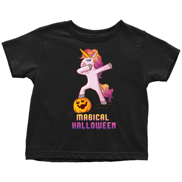 Dabbing Halloween Unicorn Toddler Tee Shirt, Gifts for Pumpkin Candy Treat Scary Trick