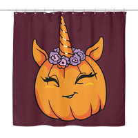 Unicorn Pumpkin Halloween Shower Curtain, Gifts for Trick Treat Costume Party