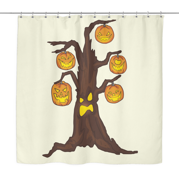 Halloween Pumpkin Tree Shower Curtain, Gifts for Candy Treat Scary Trick