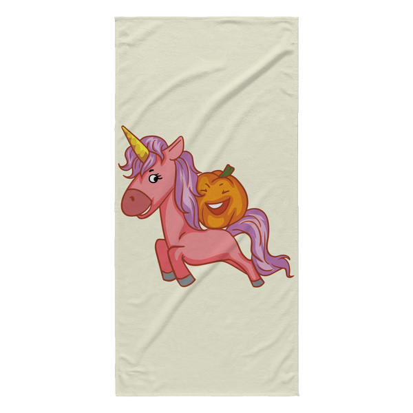 Halloween Unicorn Pumpkin Beach Towel, Gifts for Trick Treat Party