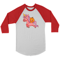 Halloween Unicorn Pumpkin Raglan Shirt, Gifts for Trick Treat Party