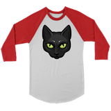 Black Cat Face Raglan Shirt, Gifts for Cat Lovers