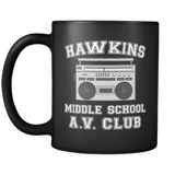 Hawkins Middle School Black Coffee Mugs for Men Women