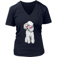 Poodle V Neck Shirts for Women, Cute Gift for Cute Dog Lovers