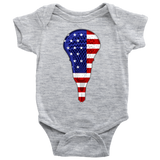 Lacrosse USA Flag Baby Romper Bodysuit, Gifts for Lacrosse Players Sports Lovers