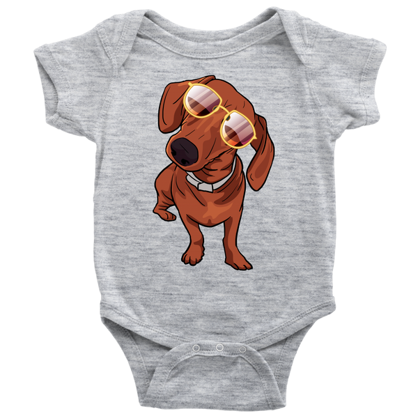 Dachshund wth Sunglasses Funny Baby Romper Bodysuit, Gifts for Dog Puppy Lovers