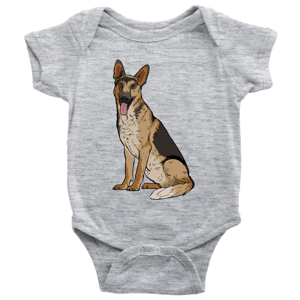 German Shepherd Baby Romper Bodysuit, Funny Gift for Dog Lovers