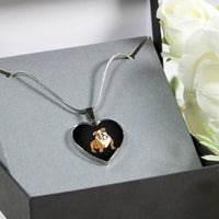 Bulldog Heart Pendant Necklace Bangle, Funny Gift for Cute Dog Lovers