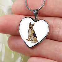 German Shepherd Heart Pendant Necklace Bangle, Funny Gift for Dog Lovers