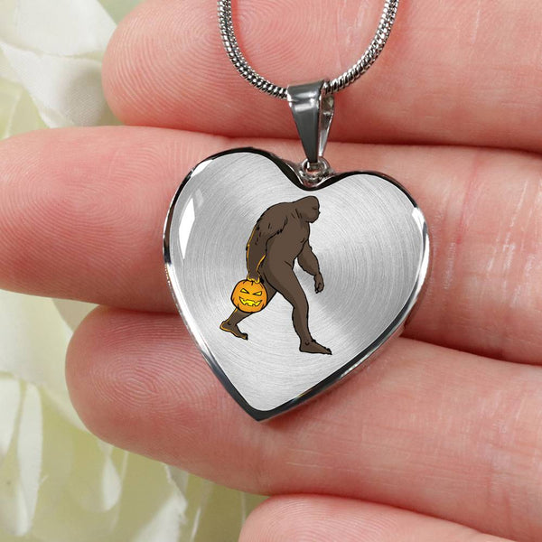 Halloween Bigfoot Sasquatch Pumpkin Heart Pendant Necklace, Gifts for Costume Party