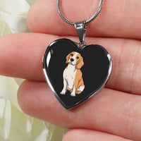 Beagle Heart Pendant Necklace Bangle, Funny Gift for Cute Dog Lovers