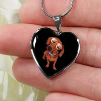 Dachshund Heart Pendant Necklace Bangle, Cute Gift for Cute Dog Lovers