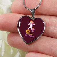 Dabbing Halloween Unicorn Heart Pendant Necklace, Gifts for Pumpkin Candy Treat Scary Trick