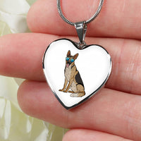 German Shepherd Heart Pendant Necklace Bangle, Cute Gift for Dog Lovers