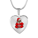 Santa Sloth Heart Pendant Necklace, Christmas Gifts for Sloth Lovers