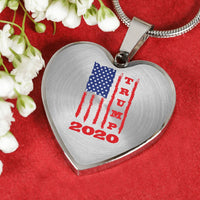 Trump 2020 USA Flag Heart Pendant Necklace, Gifts for Republicans Conservative