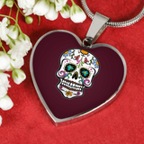 Skull Heart Pendant Necklace, Sugar Gifts for Day of the Dead