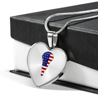 Lacrosse USA Flag Heart Pendant Necklace, Gifts for Lacrosse Players Sports Lovers