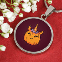 Unicorn Pumpkin Halloween Circle Pendant Necklace, Gifts for Trick Treat Costume Party