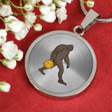 Halloween Bigfoot Sasquatch Pumpkin Circle Pendant Necklace, Gifts for Costume Party