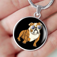 Bulldog Pendant Necklace Bangle, Cute Gift for Cute Dog Lovers