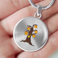 Halloween Pumpkin Tree Circle Pendant Necklace, Gifts for Candy Treat Scary Trick