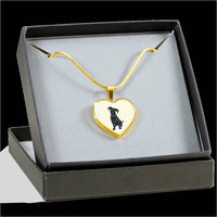 Black Labrador Heart Pendant Necklace Bangle, Funny Gift for Cute Dog Lovers