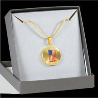Trump 2020 USA Flag Circle Pendant Necklace, Gifts for Republicans Conservative