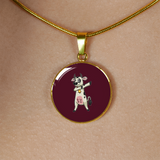 Dabbing Cow Circle Pendant Necklace, Gifts for Farm Animal Lovers