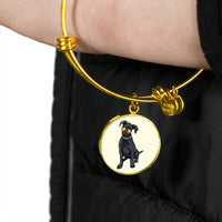 Black Labrador Pendant Necklace Bangle, Cute Gift for Cute Dog Lovers