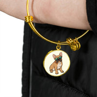 French Bulldog Pendant Necklace Bangle, Cute Gift for Cute Dog Lovers