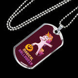 Dabbing Halloween Unicorn Military Dog Tag, Gifts for Pumpkin Candy Treat Scary Trick