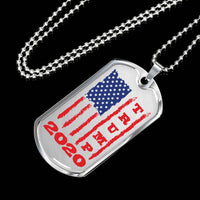 Trump 2020 USA Flag Military Dog Tag, Gifts for Republicans Conservative