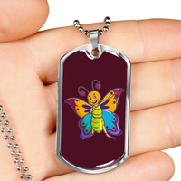 Butterfly Military Dog Tag, Moth Lover Gifts