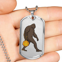 Halloween Bigfoot Sasquatch Pumpkin Military Dog Tag, Gifts for Costume Party