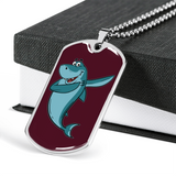 Shark Military Dog Tag, Dabbing Gifts for Fishing Lovers