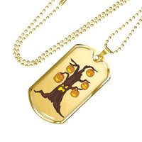 Halloween Pumpkin Tree Military Dog Tag, Gifts for Candy Treat Scary Trick